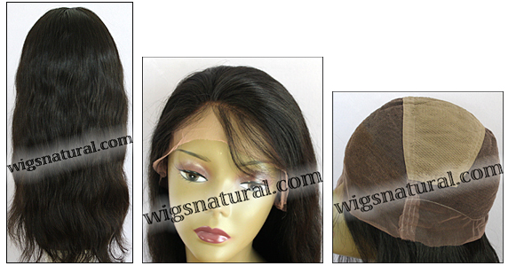 Full lace wig, Virgin Mongolian Remy hair, natural dark hair color, style WN-Straight-Natural-22, In stock
