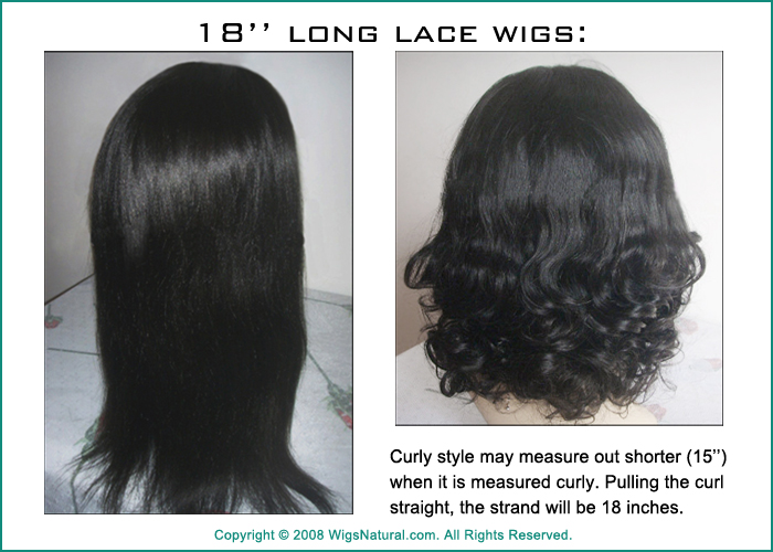 Hair Length Measurement for Full Hand-tied Lace Wigs and Monofilament Wigs - the measurement is always given when the hair is straight