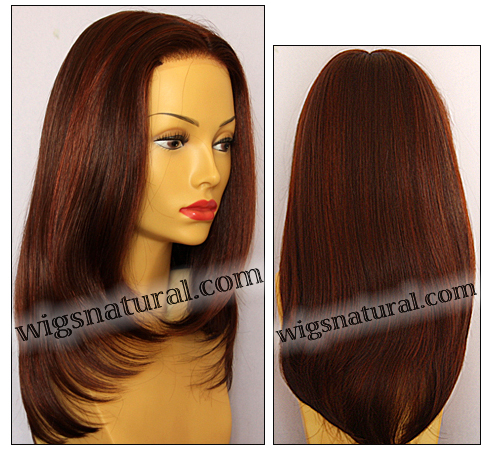 Envy Full Hand-tied Wig Roxie, color shown dark red