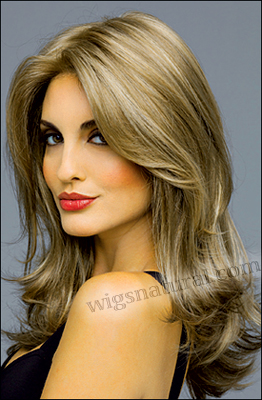 Envy mono top with lace front wig Bobbi, color shown mocha frost