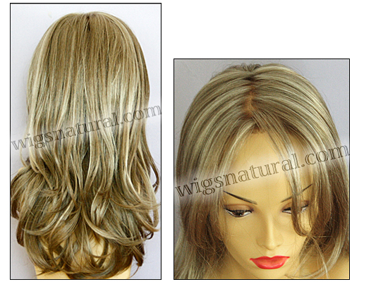 Envy mono top with lace front wig Bobbi, color shown ginger cream
