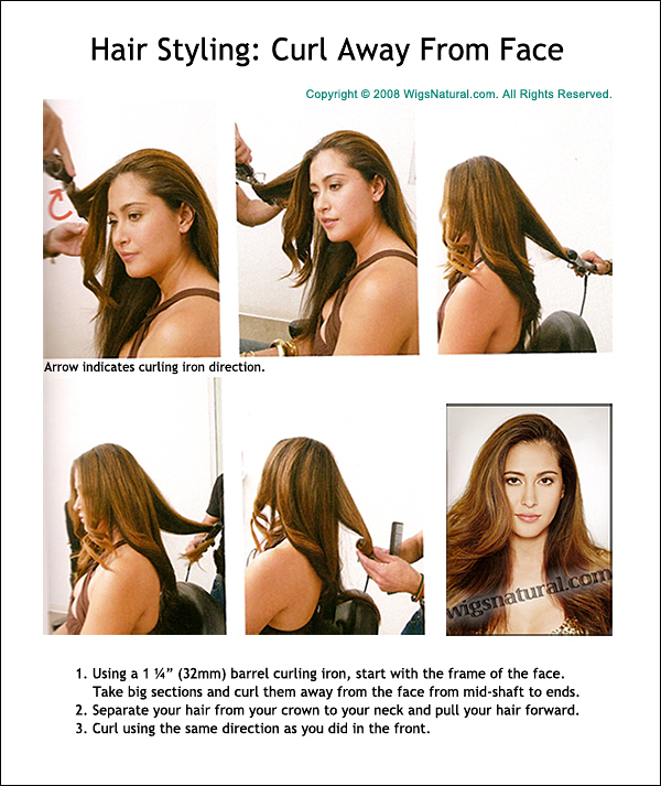 """Curl Away From Face - with 1 ¼"""" Barrel Curly Iron"""