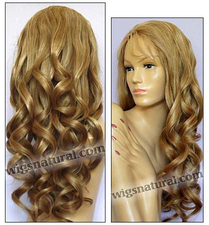 Full Hand-tied Monofilament wig, Virgin Brazilian Remy Hair, virgin European remy hair, or virgin Asian hair, wig style VWMN-DBlond-bodyCurl-11NHL10B-26
