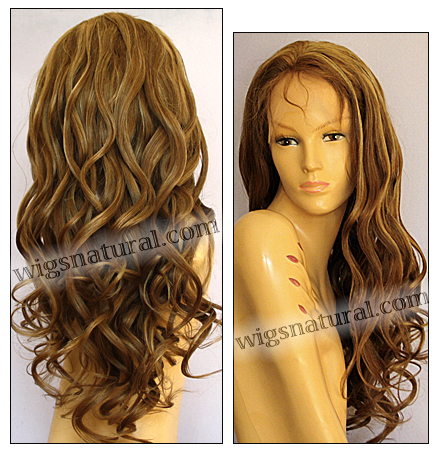 Silk top full lace wig, or Full lace wig, Virgin European hair, virgin Brazilian hair, or virgin Asian hair, style VW-DBlond-bodyCurl-11NHL10B-28