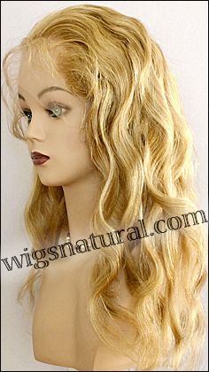 Silk top full lace wig, or Full lace wig, Virgin European hair, virgin Brazilian hair, or virgin Asian hair, style VW-LGBlond-Wavy-17HL15-22