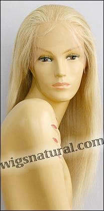 Silk top full lace wig, or Full lace wig, Virgin European hair, virgin Brazilian hair, or virgin Asian hair, style VW-LstGBlond-Straight-12N-22