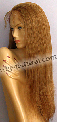 Silk top full lace wig, or Full lace wig, Virgin European hair, virgin Brazilian hair, or virgin Asian hair, style VW-CBlond-SilkStraight-B26H14L10N-26