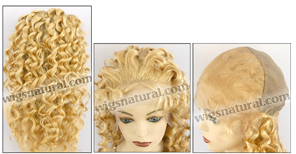 Silk top full lace wig, or Full lace wig, Virgin European hair, virgin Brazilian hair, or virgin Asian hair, style VW-LGBlond-SpiralCurl-15-20