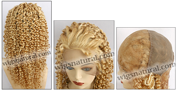 Silk top full lace wig, or Full lace wig, Virgin European hair, virgin Brazilian hair, or virgin Asian hair, style VW-CMGBlond-Curly-14M26-22