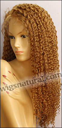 Silk top full lace wig, or Full lace wig, Virgin European hair, virgin Brazilian hair, or virgin Asian hair, style VW-CBlond-TightCurl-B26H14L10N-26