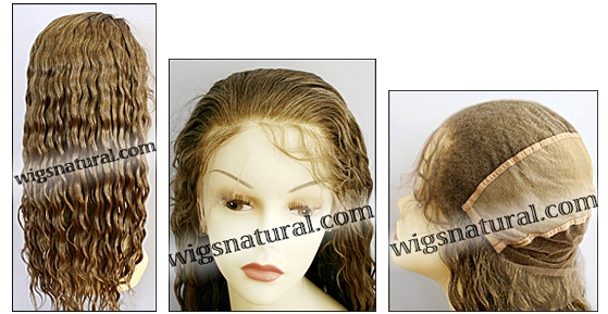 Silk top full lace wig, or Full lace wig, virgin European hair, virgin Brazilian hair, or virgin Asian hair, style VW-DBlond-Wavy-M10N10-24
