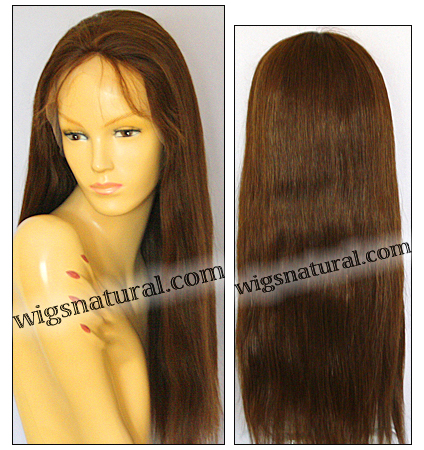 Silk top Glueless Lace Wig, Virgin European hair, virgin Brazilian hair, or virgin Asian hair, style VWGL-CBrown-TStraight-22-18