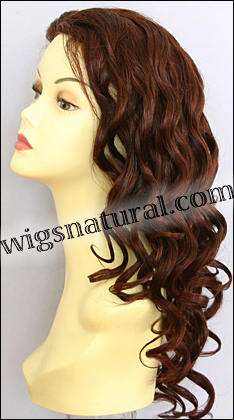Glueless Lace Front Wig, Virgin European hair, virgin Brazilian hair, or virgin Asian hair, style VWGL-Auburn-BodyCurl-30HL31-24
