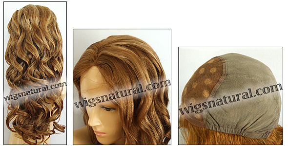 Glueless Lace Front Wig, Virgin European hair, virgin Brazilian hair, or virgin Asian hair, style VWGL-GLBrown-BodyCurl-14HL8-26