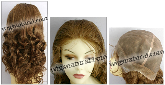 Full Hand-tied Monofilament wig, Virgin Brazilian Remy Hair, virgin European remy hair, or virgin Asian hair, wig style VWMN-DBlond-bodyCurl-11NHL10-26