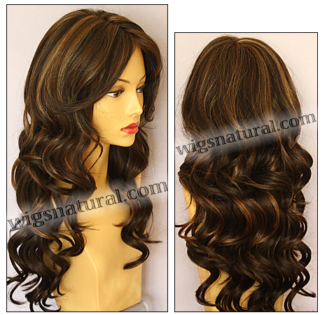 Envy mono top with lace front wig Brianna, color shown chocolate caramel