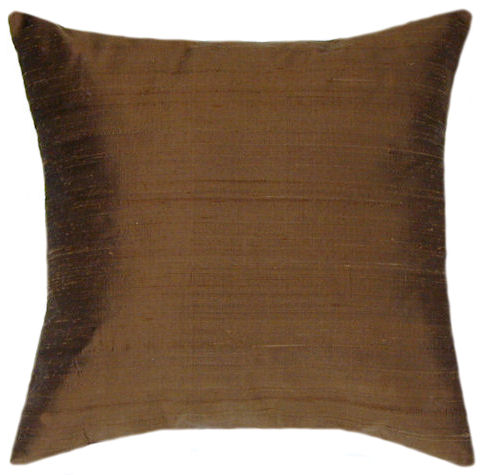 Dupioni Brown Silk - throw pillow, decorative pillows, accent pillow