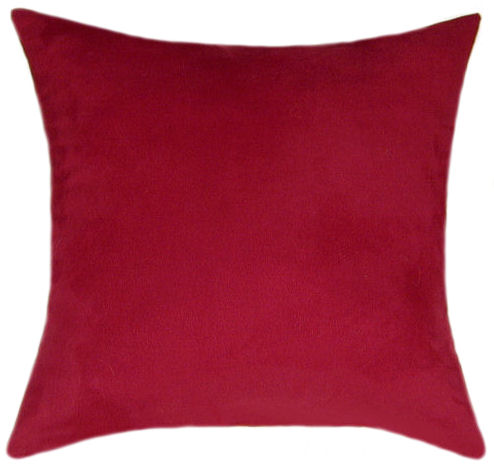 Throw Pillow Red : Red Suede Throw Pillow - Decorative Pillow, Accent Pillow