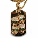 Dont Fuck Around Dog Tag 18K Yellow Gold Pave Diamonds
