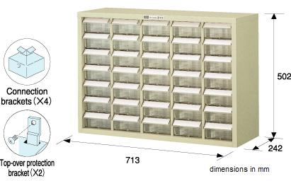 HOZAN B-414 Parts Cabinet, 35 drawers