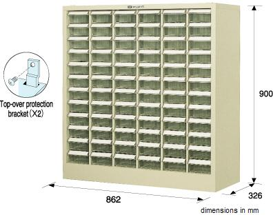 HOZAN B-200 Parts Cabinet, 72 drawers