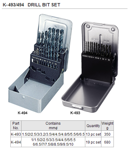 HOZAN K-493 Drill Bit Set (13pc/set) [NEW]