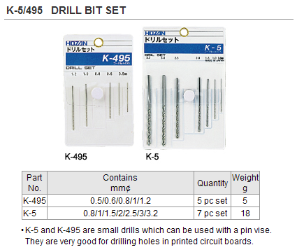 HOZAN K-495 Drill Bit Set (5pc/set)