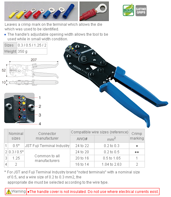 HOZAN P-743 Crimping Tool (for Insulated Terminals)
