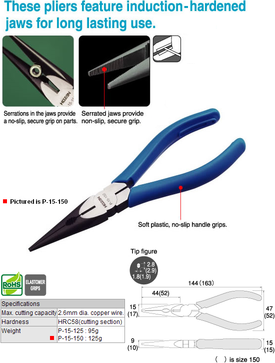 HOZAN P-15-150 Long Nose Pliers w/Side Cutter