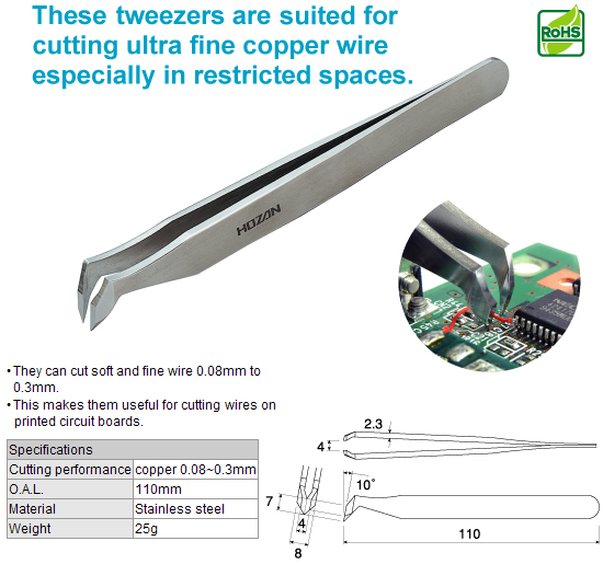HOZAN N-993 Cutting Tweezers [DISCON]