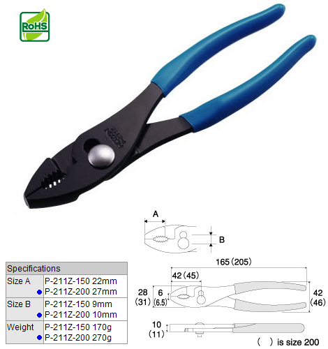 HOZAN P-211Z-200 Insulated Slip Joint Pliers