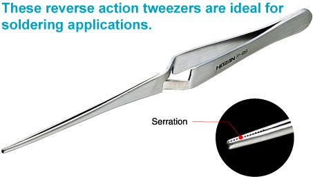 HOZAN P-89 Reverse-Action (Self-Closing) Tweezers