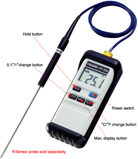 HOZAN DT-510-TA Digital Thermometer with Calibration Certificate