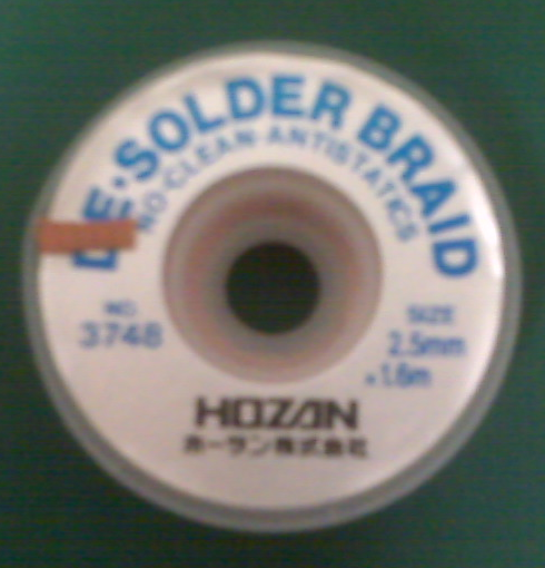 HOZAN No. 3748 Desoldering Braid, 2.5mm [DISCON]