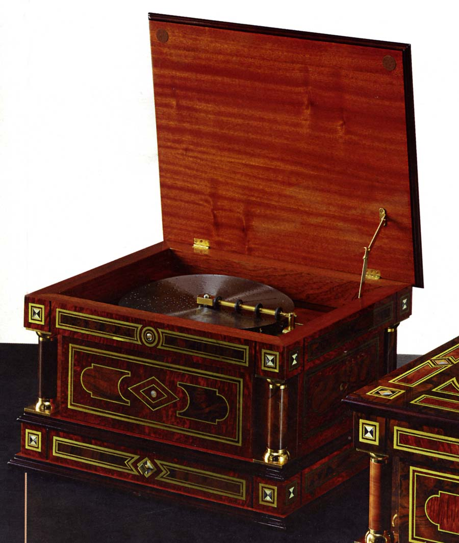A Wonderful Custom Reproduction Of The Late 19th Century Symphonion 9 1 2 24cm Disc Music Box With 6 Bells Inlay Cabinetry By Le Ore Italy Is