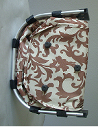 Brown Damask Print Collapsible Market Basket
