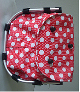 Monogrammed Rose Pink With Polka Dots Print Collapsible Market Basket