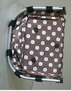 Monogrammed Brown With Polka Dots Print Collapsible Market Basket