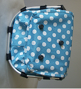 Monogrammed Blue with Polka Dots Print Collapsible Market Basket