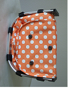 Monogrammed Orange With Polka Dots Print Collapsible Market Basket