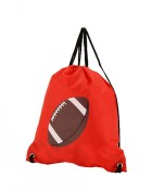 Flat Drawstring Backpack in Football Print-Red
