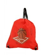 Flat Drawstring Backpack in Basketball Print-Red
