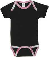 Cotton Short Sleeved  Black Infant Onesies With CamouflageTrim
