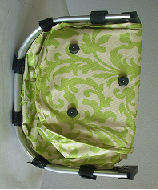 Lime Green Damask Print Collapsible Market and shopping Basket