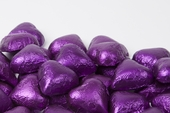 Purple Foiled Milk Chocolate Hearts (1 Pound Bag)
