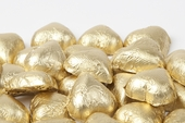 Gold Foiled Milk Chocolate Hearts (1 Pound Bag)