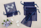 Navy Sheer Organza Party favor Bags