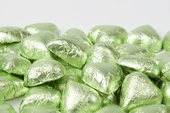 Leaf Green Foiled Milk Chocolate Hearts (5 Pound Bag)