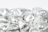 Silver Foiled Milk Chocolate Hearts (10 Pound Case)