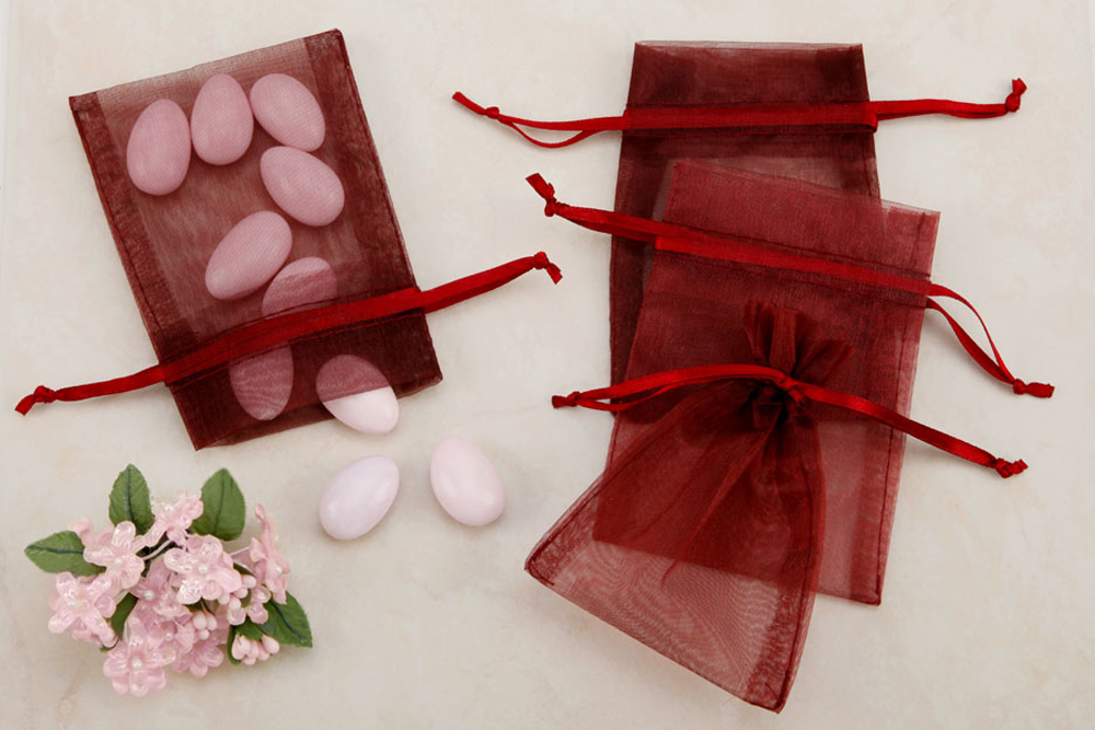 Burgundy Sheer Organza Party Favor Bags From Nuts In Bulk Organza
